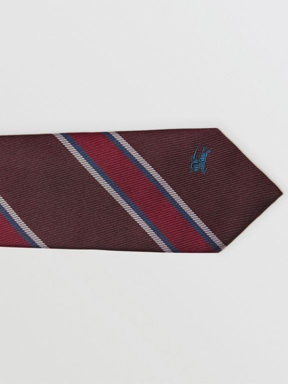 Slim Cut Striped Silk Jacquard Tie in Oxblood - Men | Burberry - cell image 1