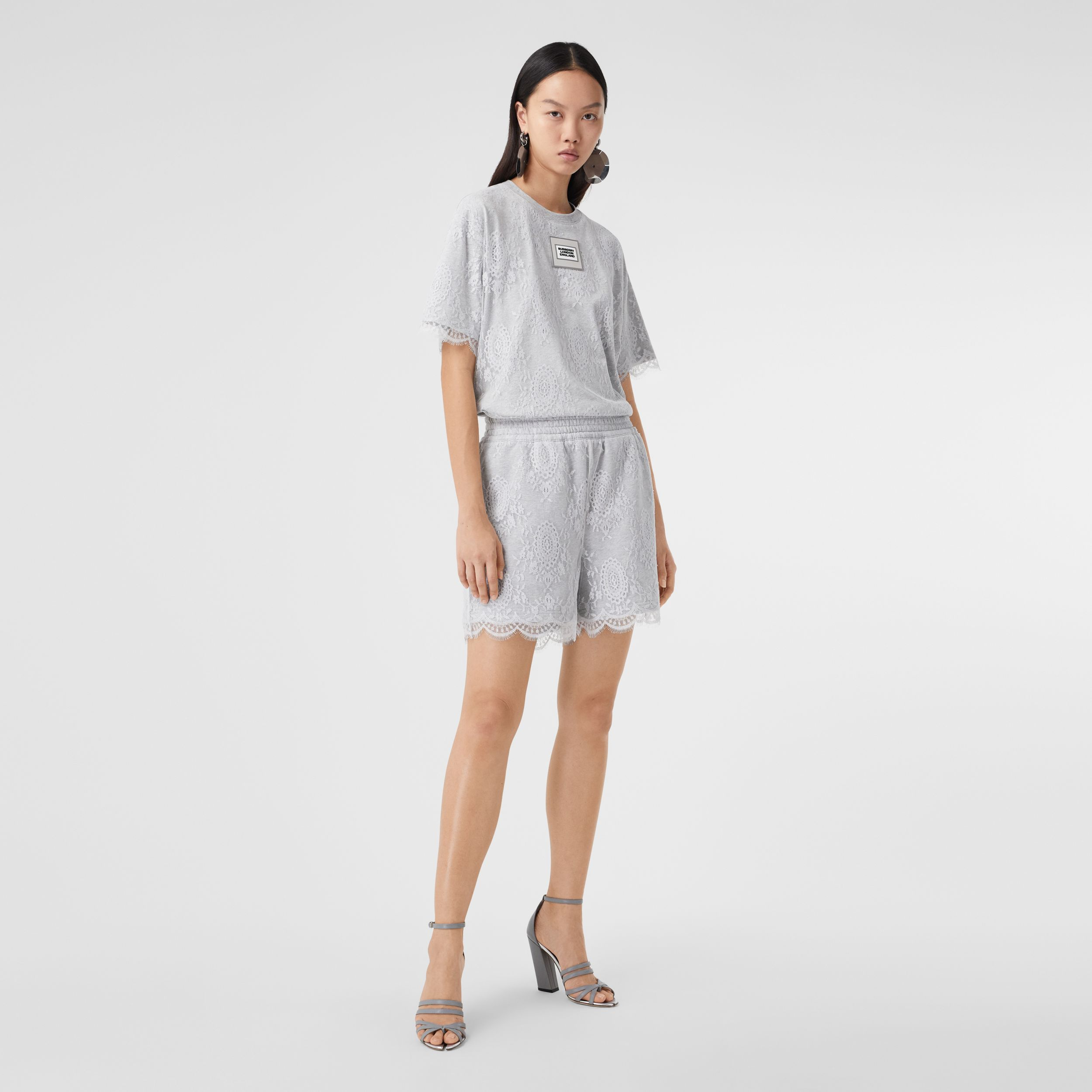 Lace and Cotton Shorts in Light Pebble Grey - Women | Burberry - 1