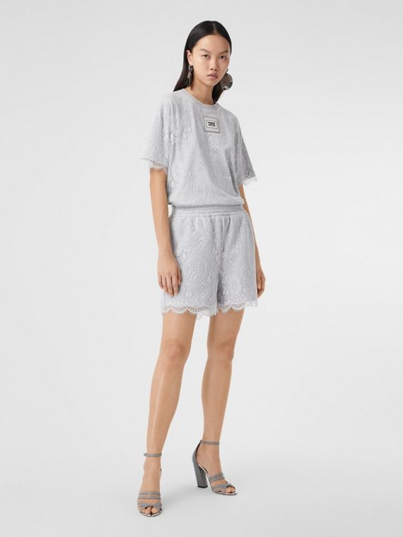 Lace and Cotton Shorts in Light Pebble Grey