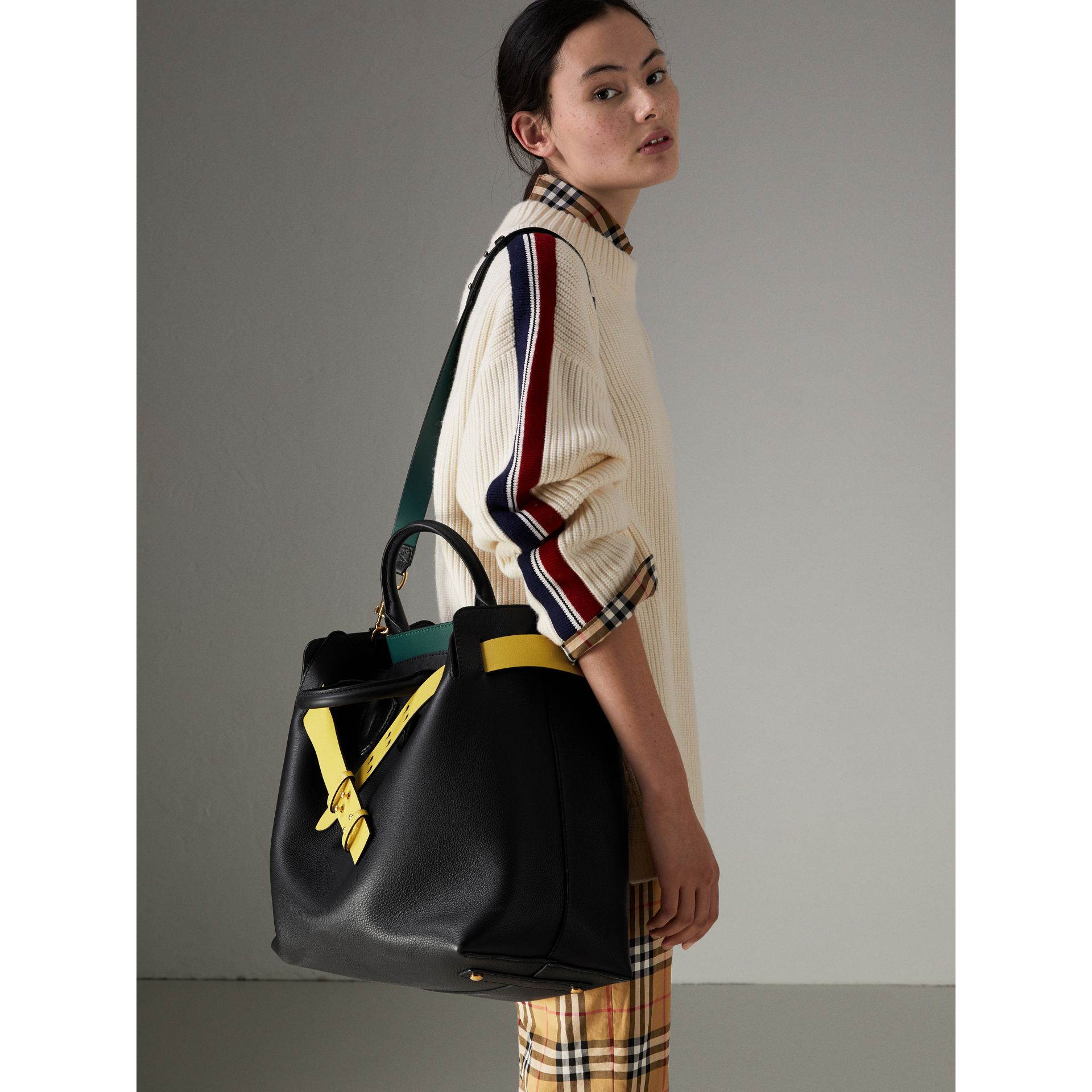 The Large Leather Belt Bag in Black/yellow | Burberry - gallery image 2