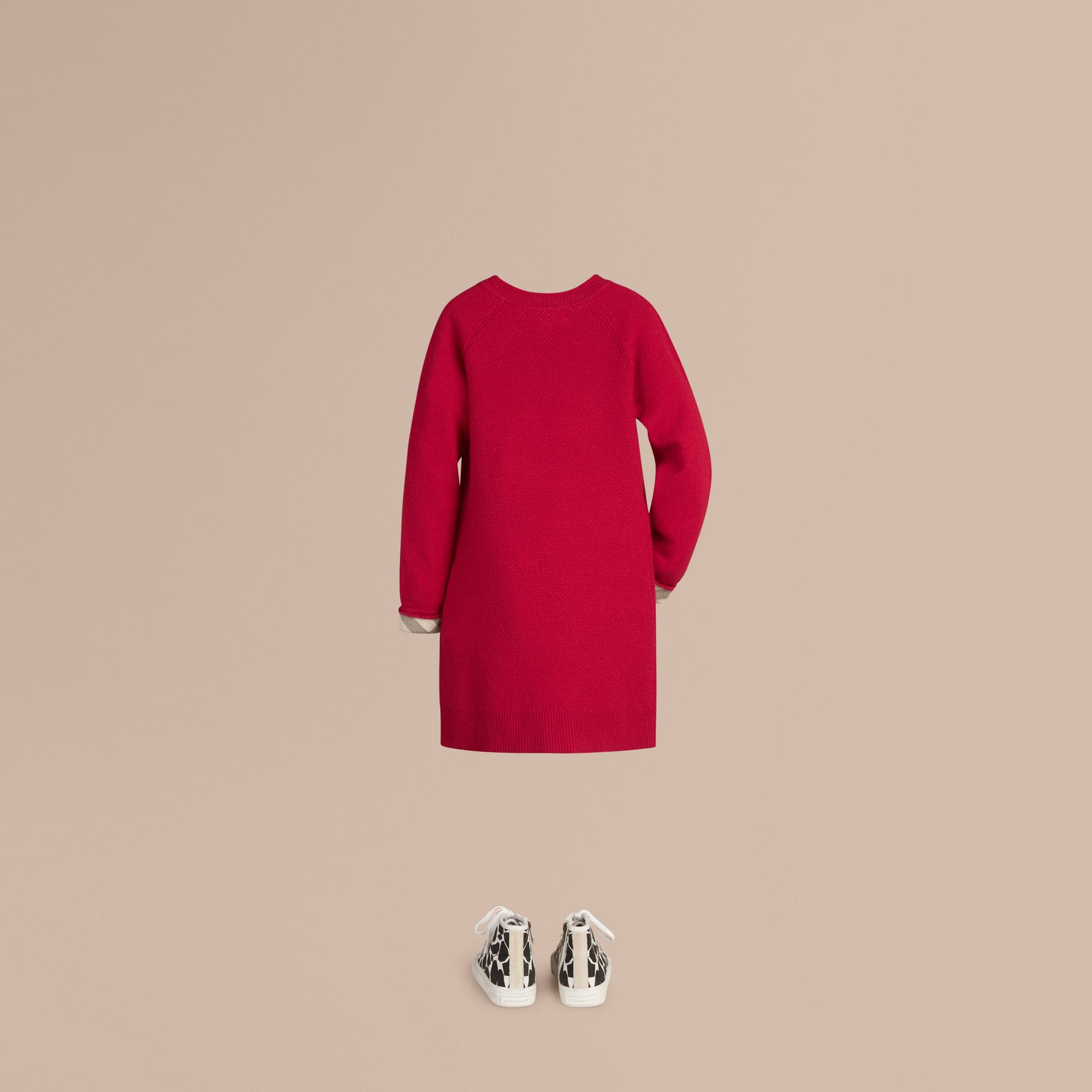 Check Detail Cashmere Dress in Parade Red - Girl | Burberry - gallery image 2
