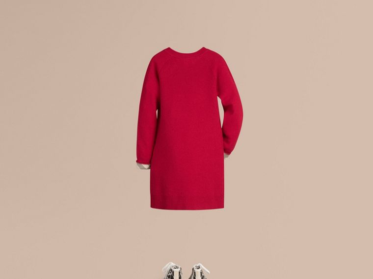 Check Detail Cashmere Dress in Parade Red - Girl | Burberry - cell image 1