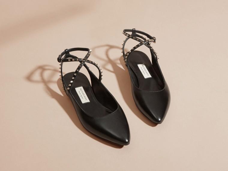 Studded Leather Slingback Sandals
