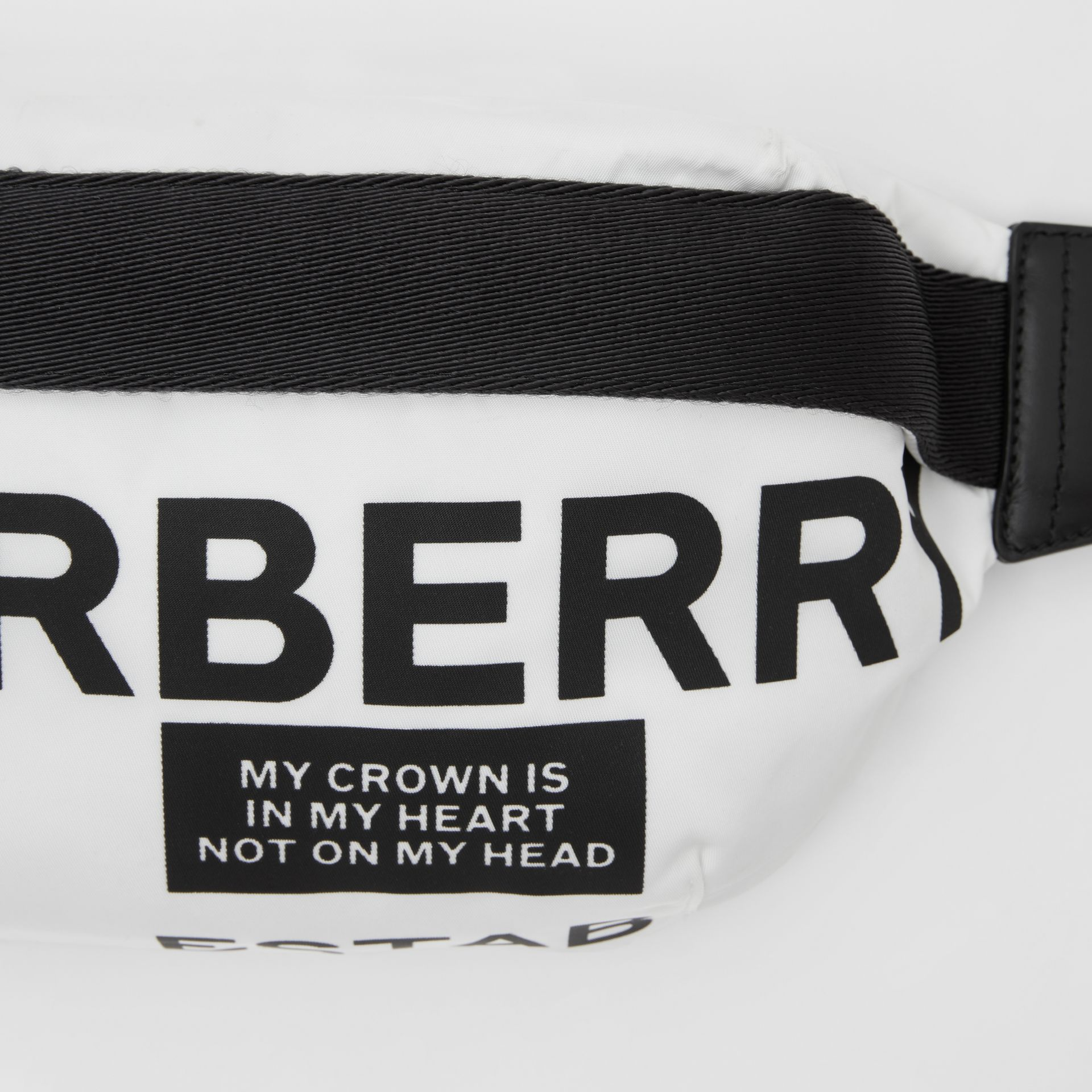 Medium Logo Print Bum Bag in White | Burberry Australia - gallery image 1
