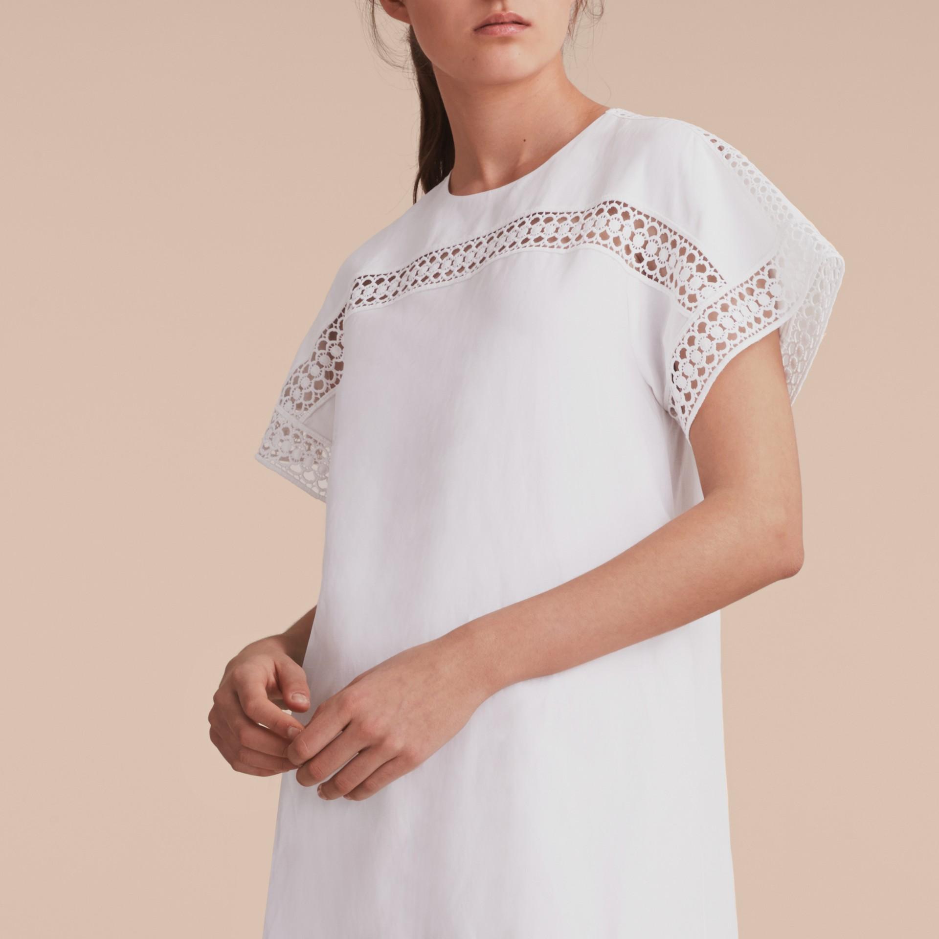 Short-sleeved Macramé Lace Detail Silk Blend Dress - gallery image 5