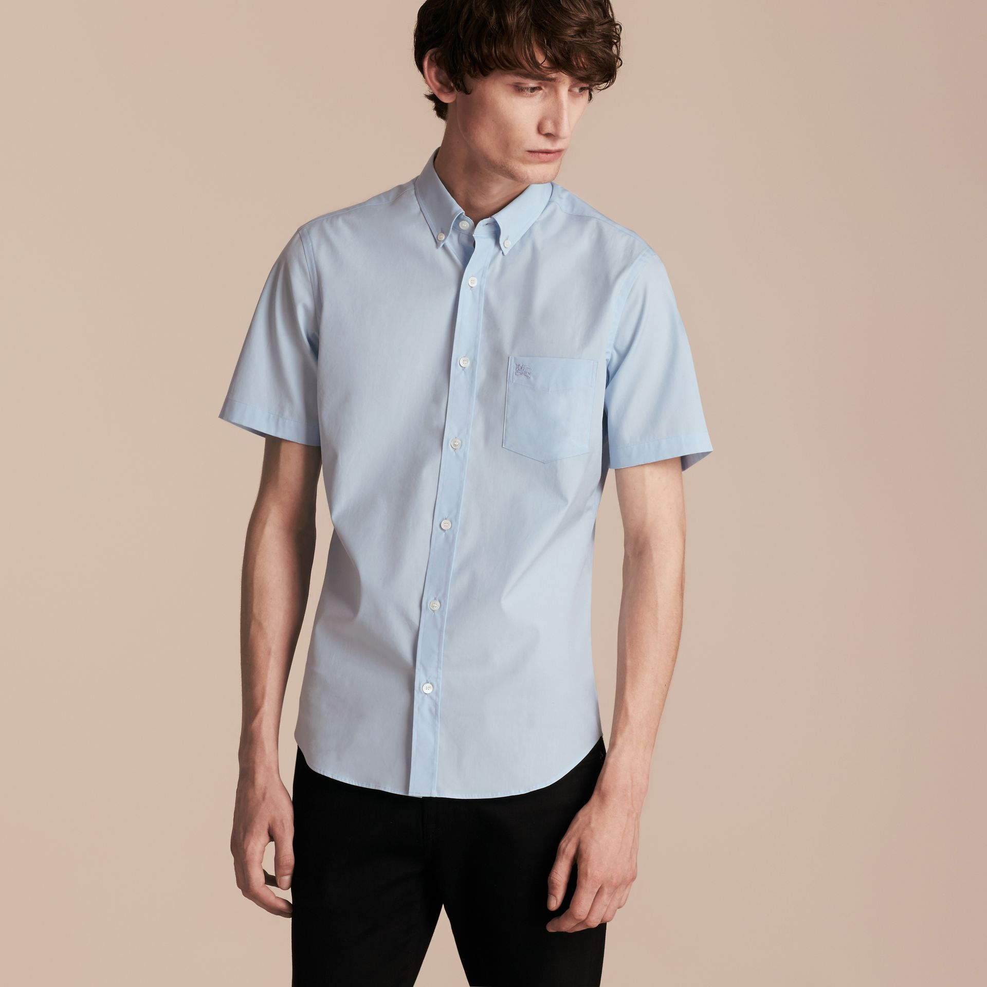 Short-sleeved Stretch Cotton Poplin Shirt in Pale Blue - Men | Burberry - gallery image 6