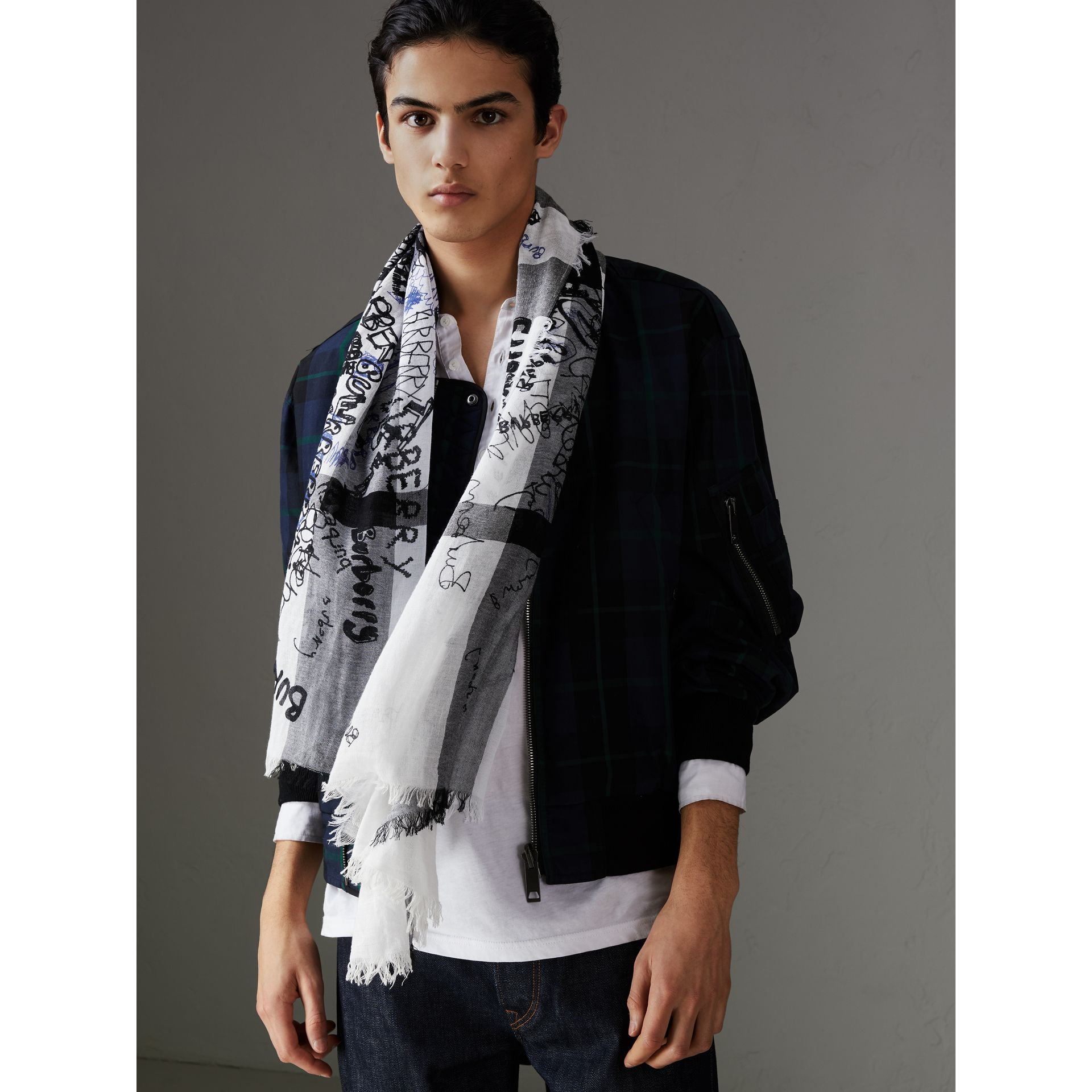 Doodle Print Check Silk Cotton Square Scarf in White/ink Blue | Burberry Singapore - gallery image 5