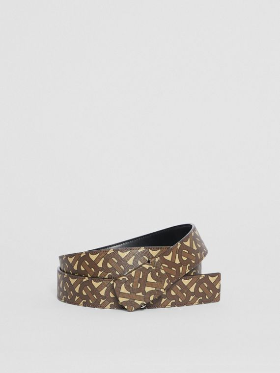 Monogram Print E-canvas Belt in Bridle Brown