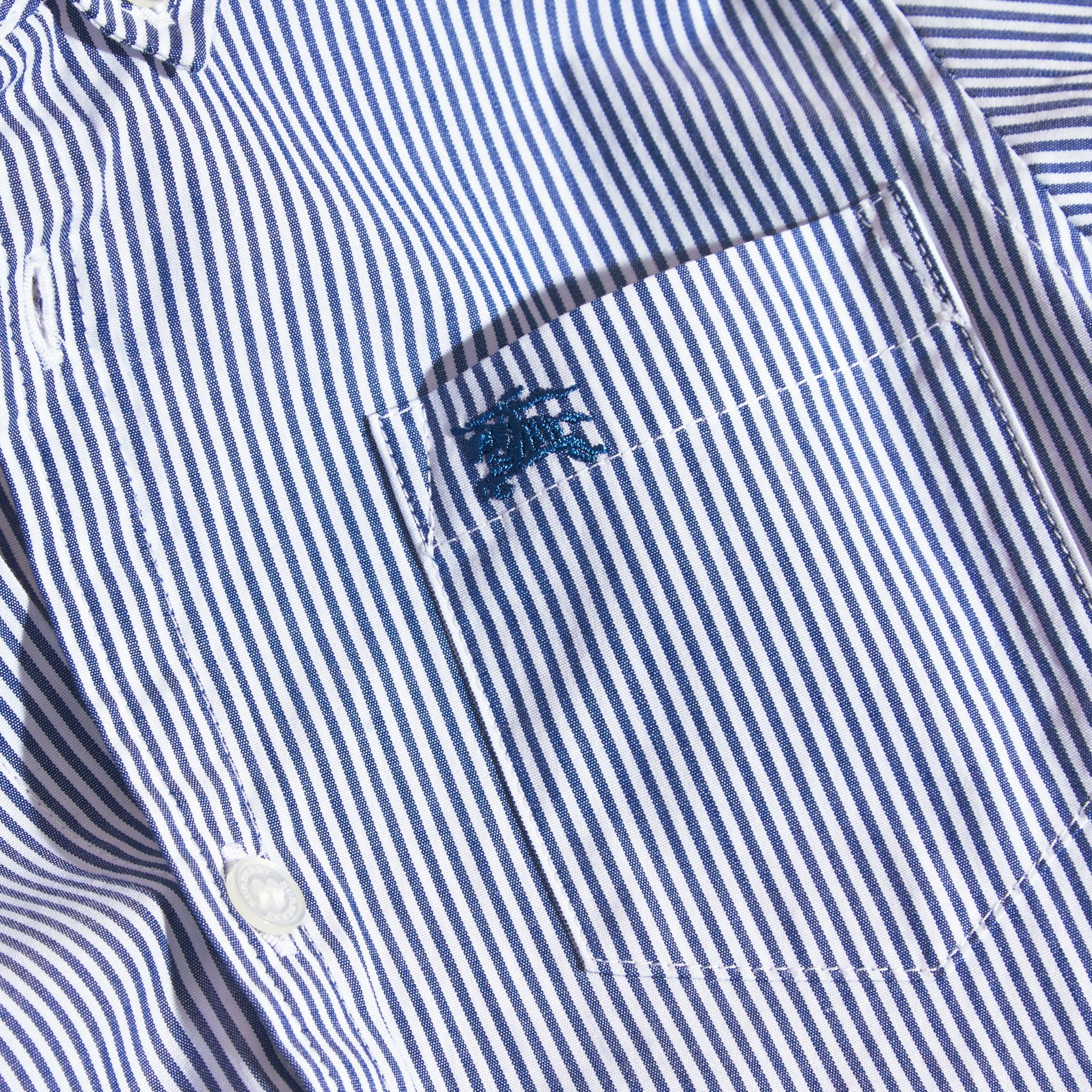 Marine blue Striped Stretch Cotton Shirt - gallery image 2