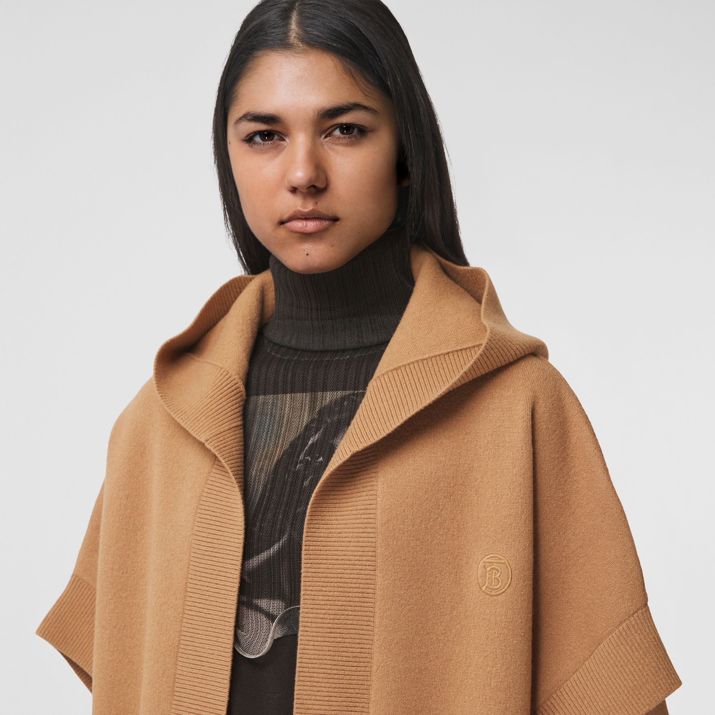 Monogram Motif Cashmere Blend Hooded Cape in Camel - Women | Burberry - 2