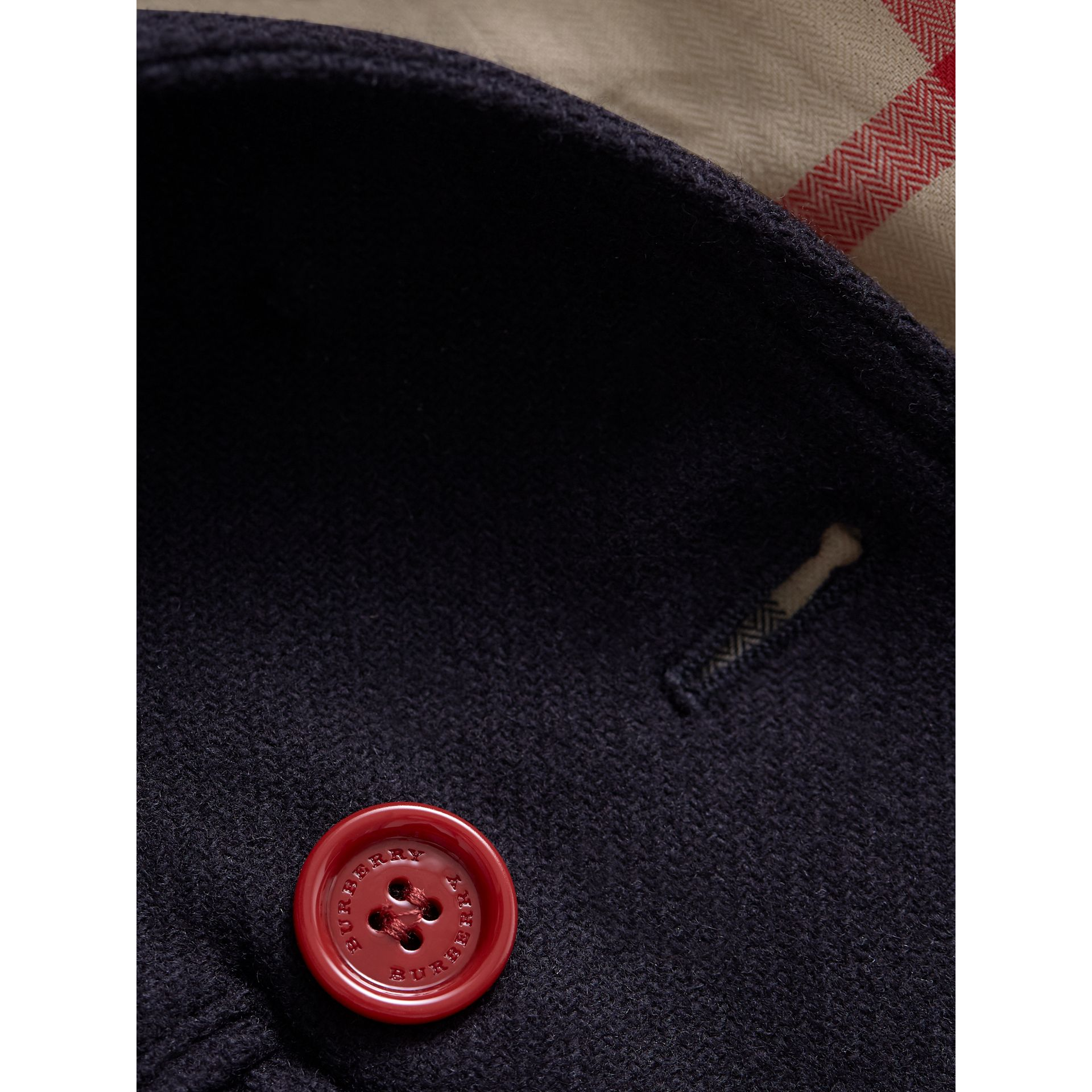 Resin Button Wool Cashmere Blend Pea Coat in Navy | Burberry - gallery image 2