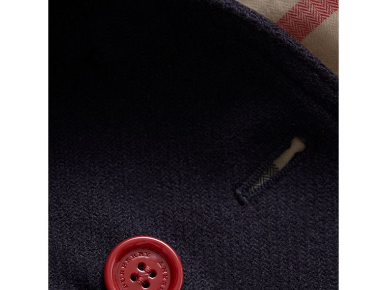 Resin Button Wool Cashmere Blend Pea Coat in Navy | Burberry - cell image 1