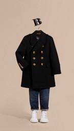 Manteau ajusté en laine et cachemire mélangés avec boutons bombés