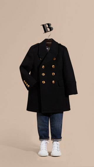 Wool Cashmere Blend Tailored Coat with Domed Buttons