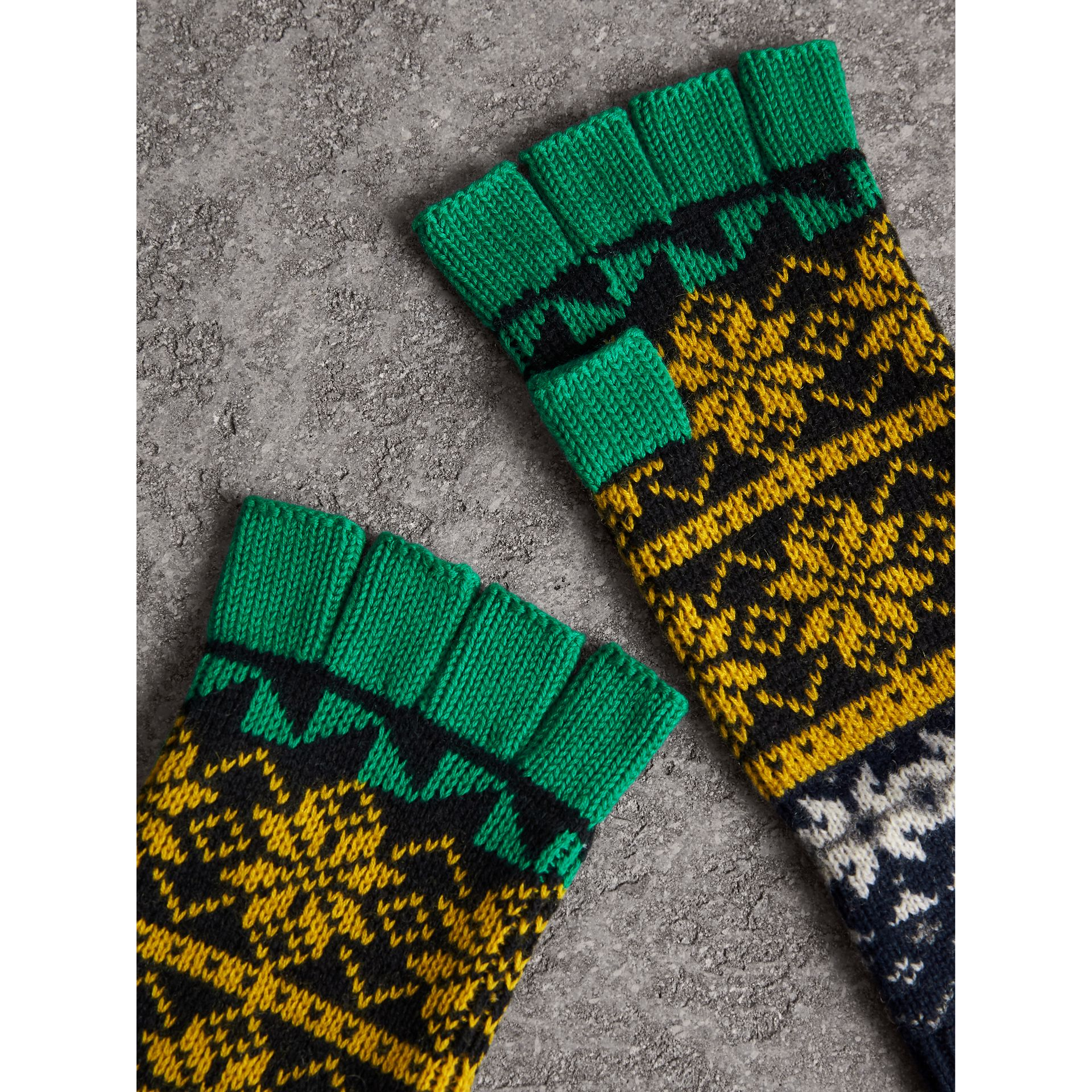 Fair Isle Wool Cashmere Cotton Fingerless Gloves in Bright Yellow | Burberry Singapore - gallery image 1