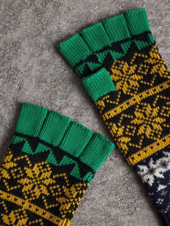 Fair Isle Wool Cashmere Cotton Fingerless Gloves in Bright Yellow | Burberry - cell image 1