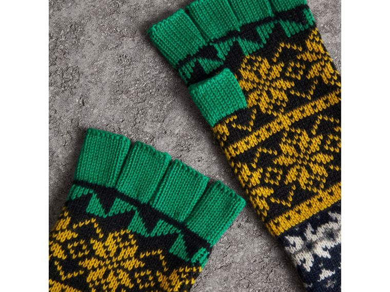 Fair Isle Wool Cashmere Cotton Fingerless Gloves in Bright Yellow | Burberry Singapore - cell image 1