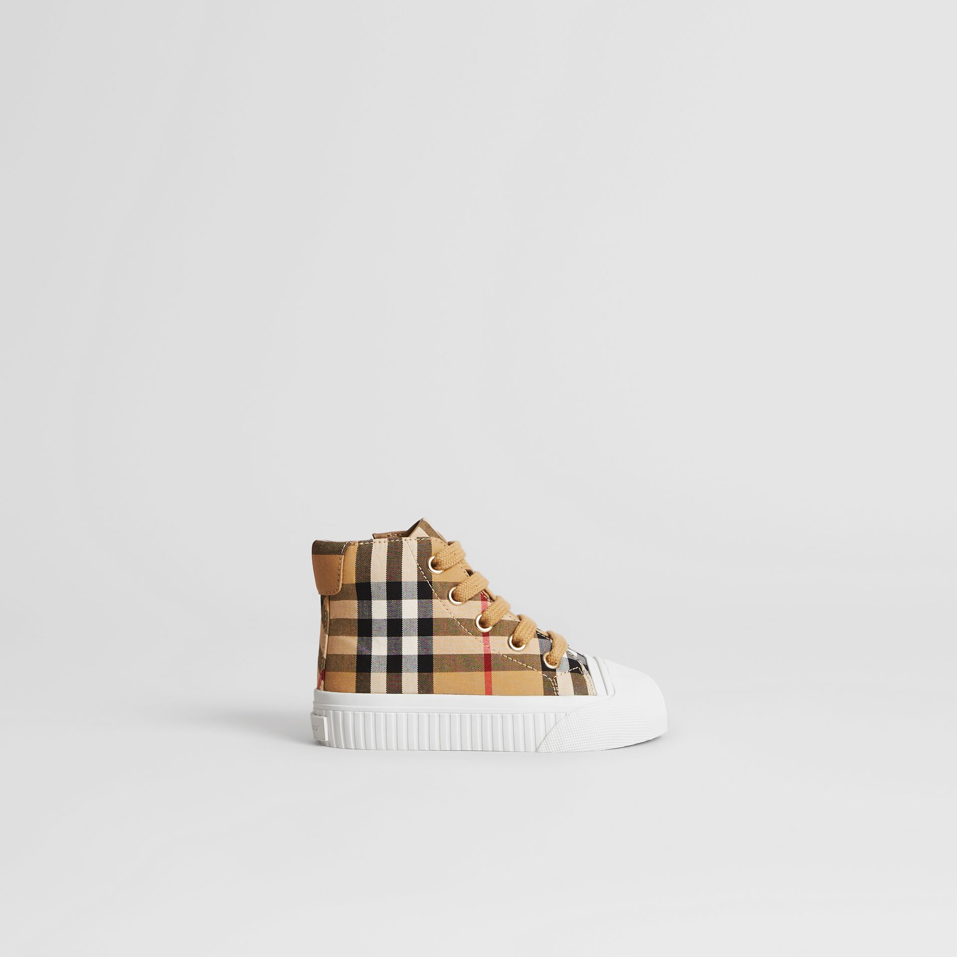 Vintage Check and Leather High-top Sneakers in Antique Yellow/optic White - Children | Burberry - gallery image 3