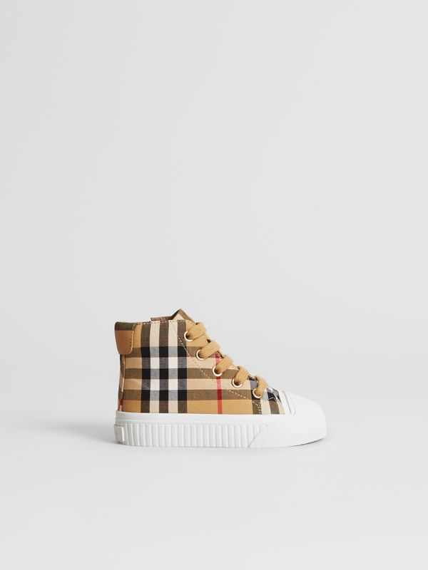 Vintage Check and Leather High-top Sneakers in Antique Yellow/optic White - Children | Burberry Singapore - cell image 3