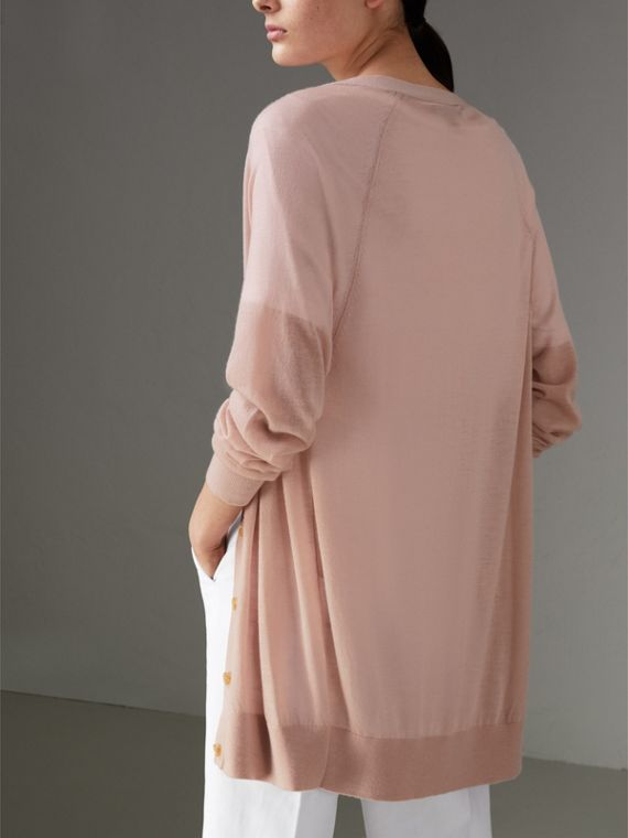 Open-stitch Detail Cashmere Cardigan in Thistle Pink - Women | Burberry Australia - cell image 2
