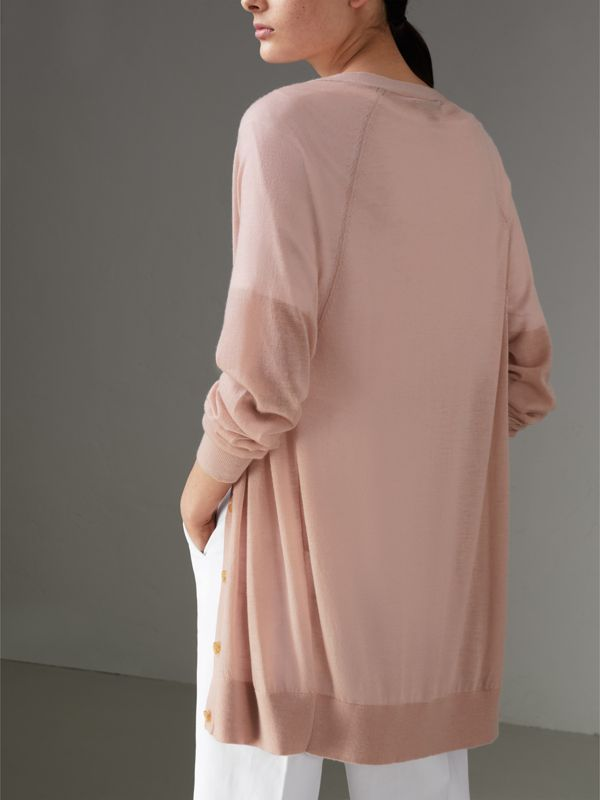 Open-stitch Detail Cashmere Cardigan in Thistle Pink - Women | Burberry - cell image 2