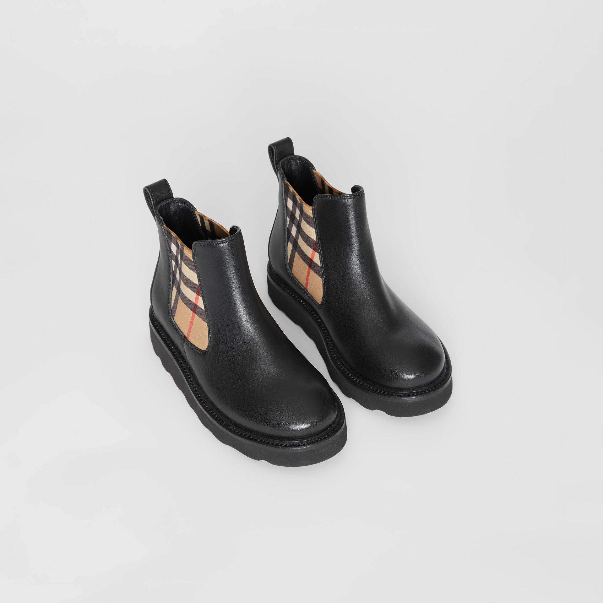 Vintage Check and Leather Chelsea Boots in Black - Children | Burberry Hong Kong S.A.R - gallery image 0