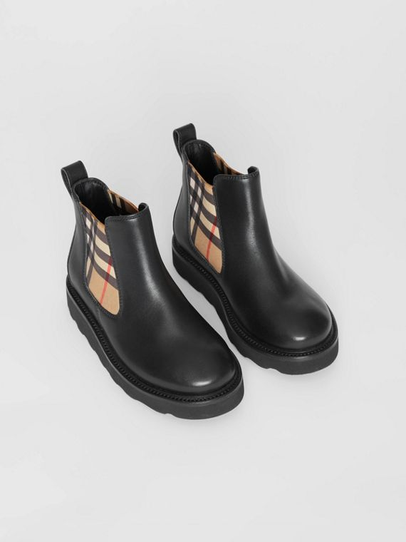 Vintage Check and Leather Chelsea Boots in Black