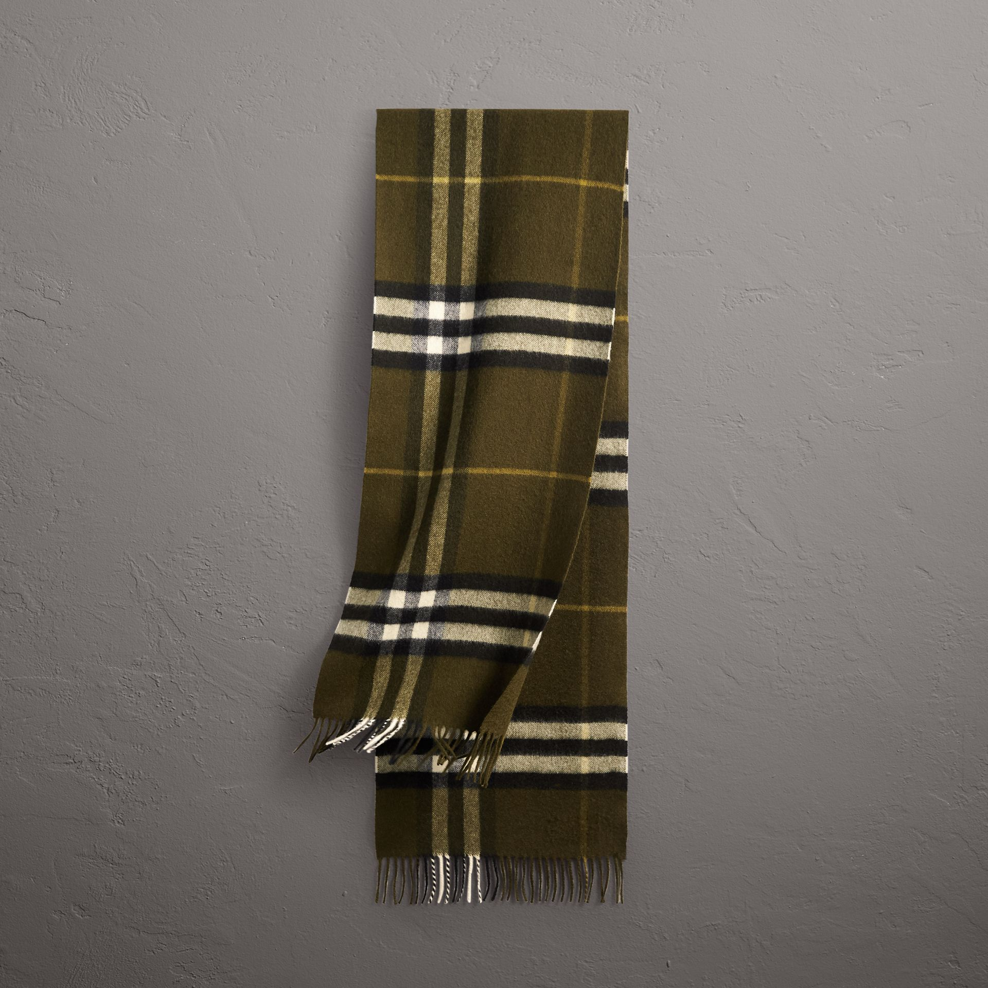 The Classic Check Cashmere Scarf in Olive Green | Burberry Canada - gallery image 0