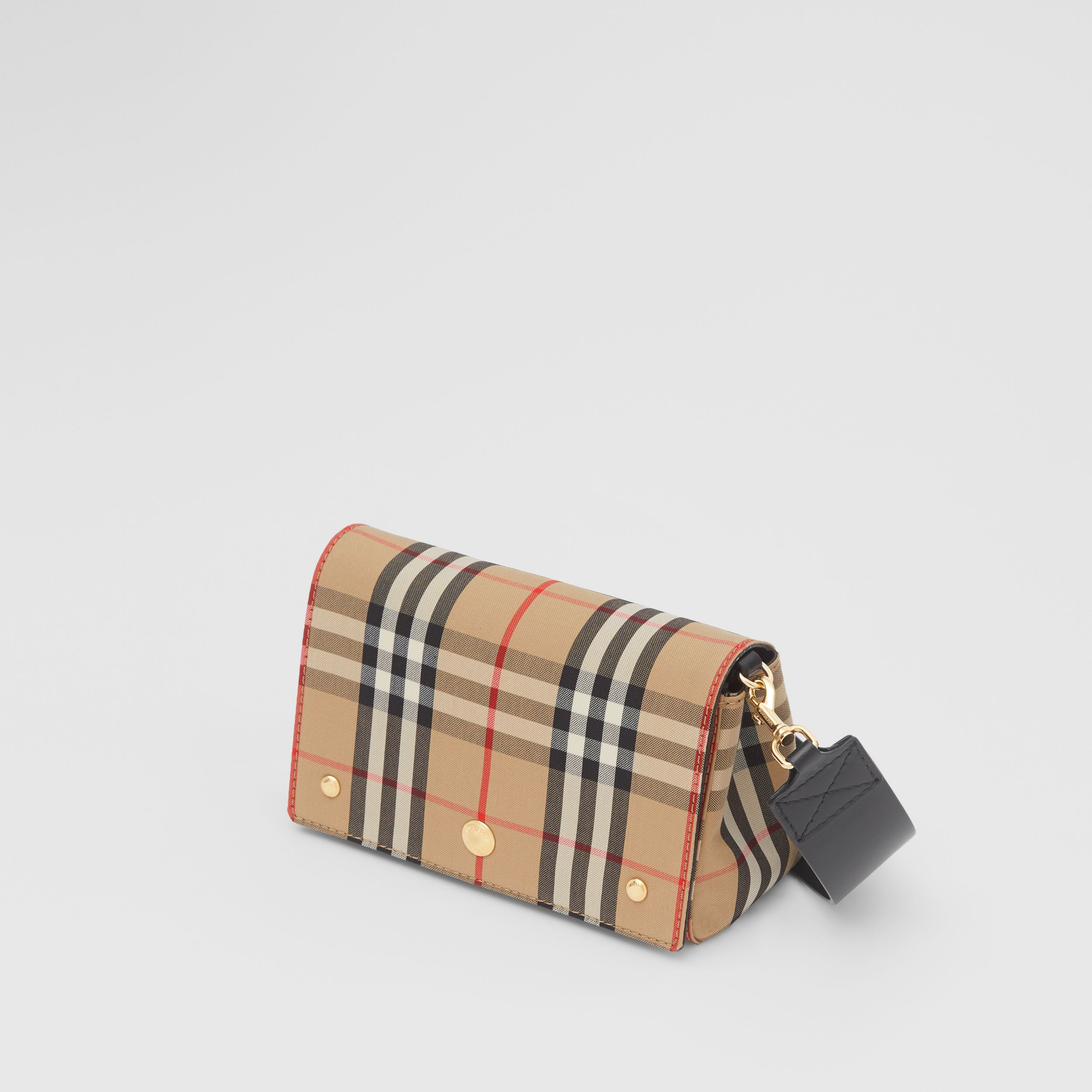 Small Vintage Check and Leather Crossbody Bag in Archive Beige - Women | Burberry - 4