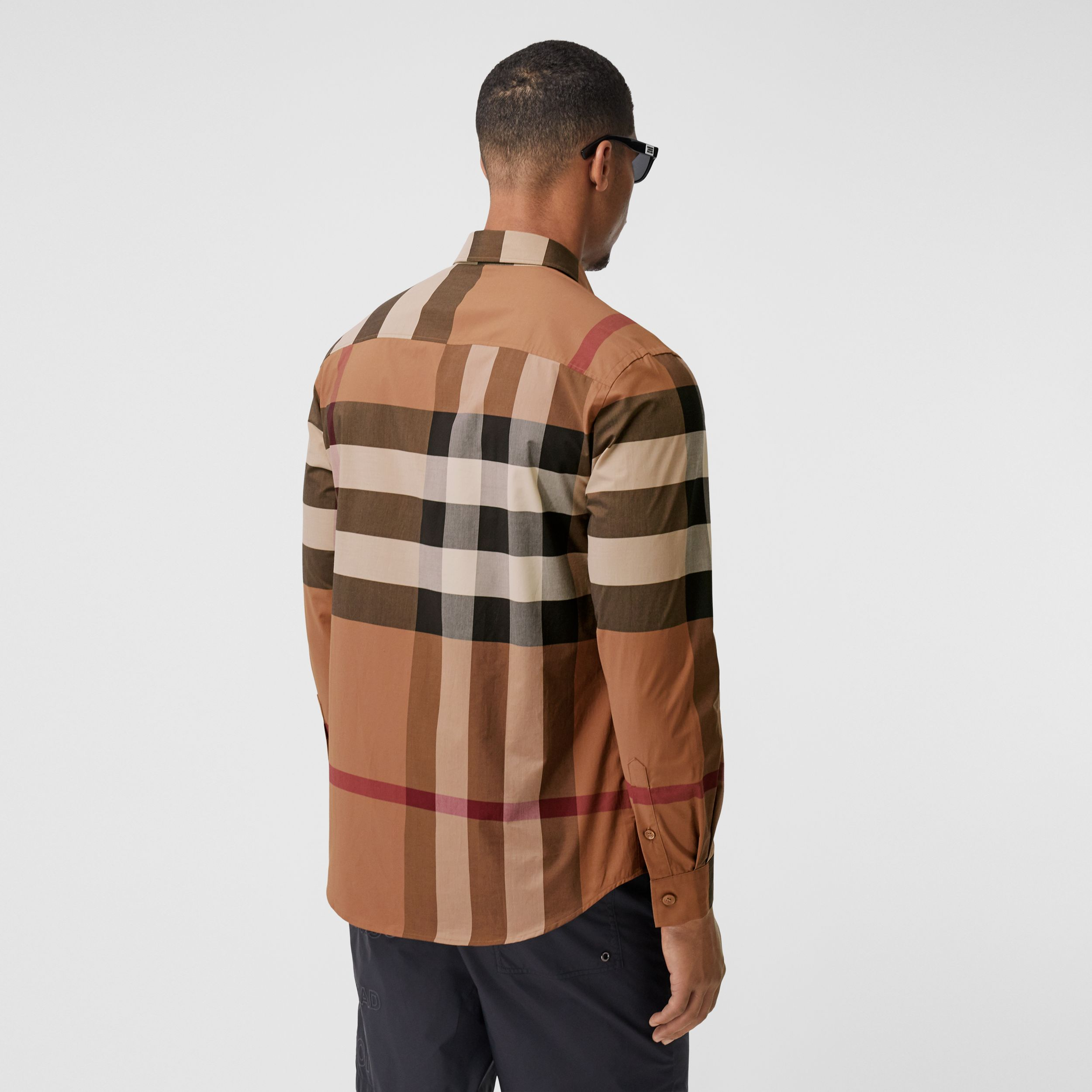 Check Stretch Cotton Poplin Shirt in Birch Brown - Men | Burberry - 3