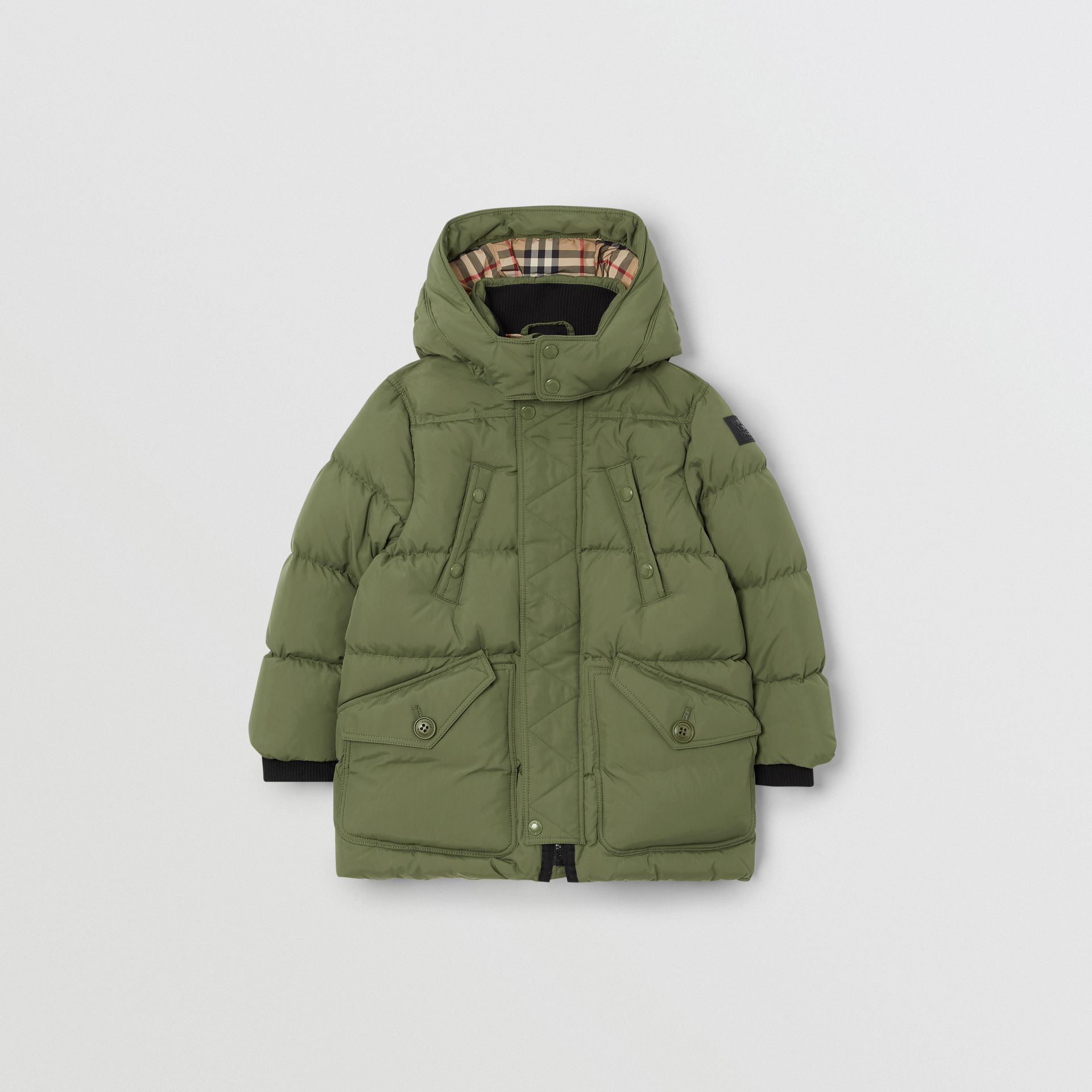 Detachable Hood Down-filled Puffer Coat in Poplar Green | Burberry - gallery image 0