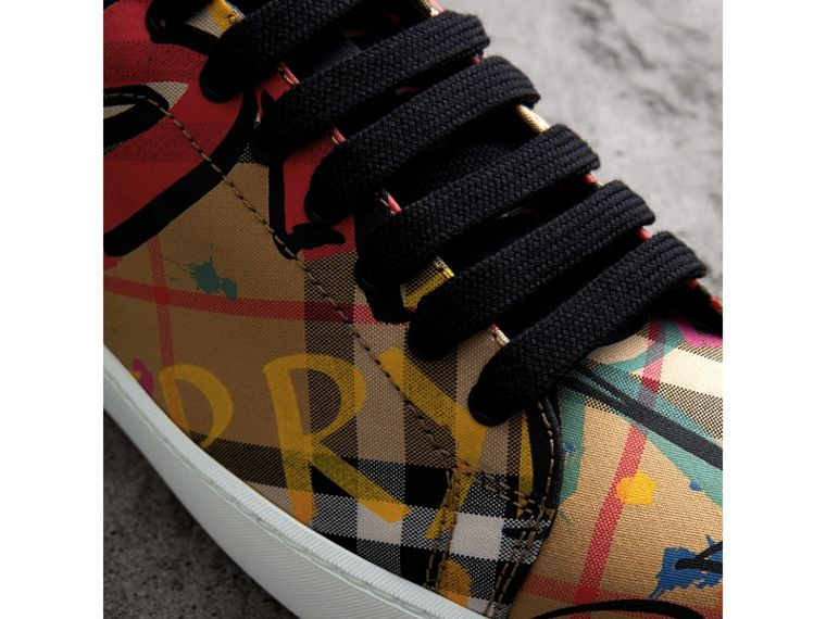 Graffiti Print Vintage Check Sneakers in Antique Yellow - Women | Burberry Australia - cell image 1