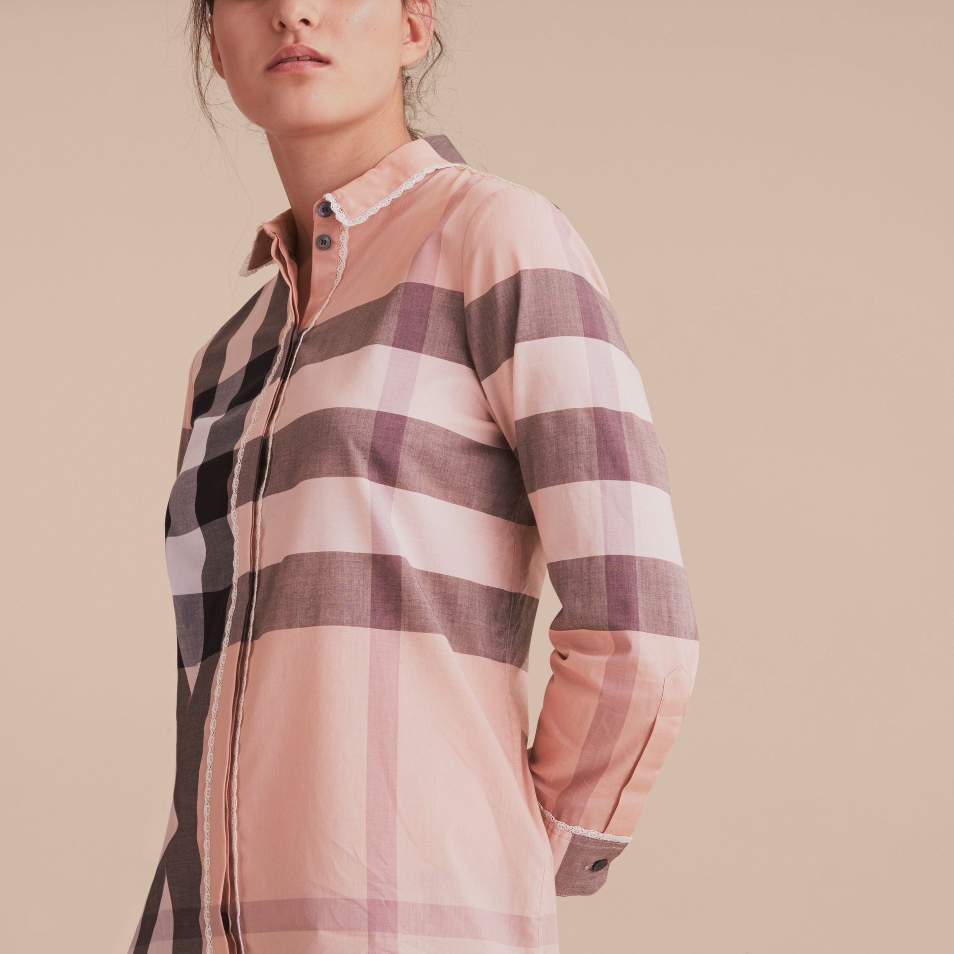 Lace Trim Check Cotton Shirt in Antique Pink - Women | Burberry - gallery image 5