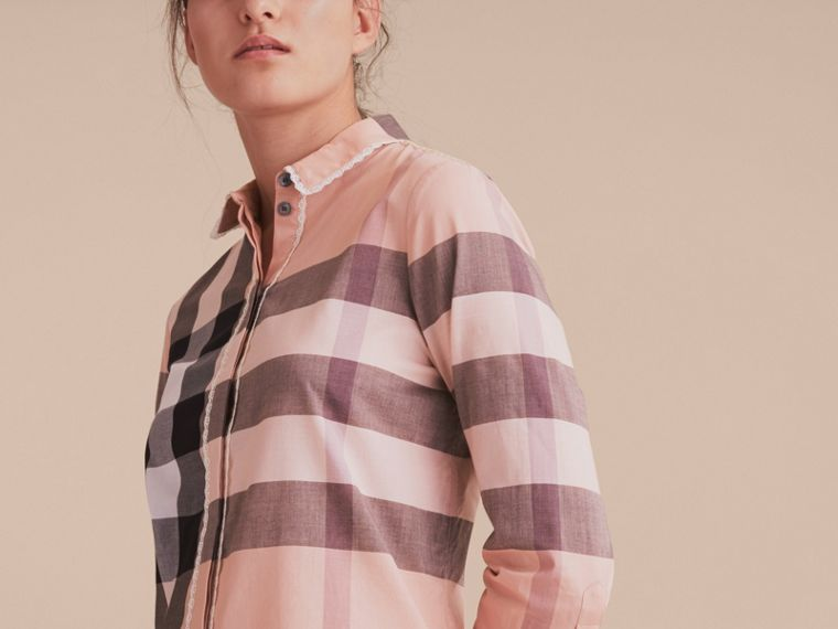 Lace Trim Check Cotton Shirt in Antique Pink - Women | Burberry - cell image 4