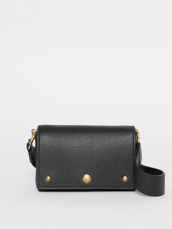 Small Grainy Leather Crossbody Bag in Black