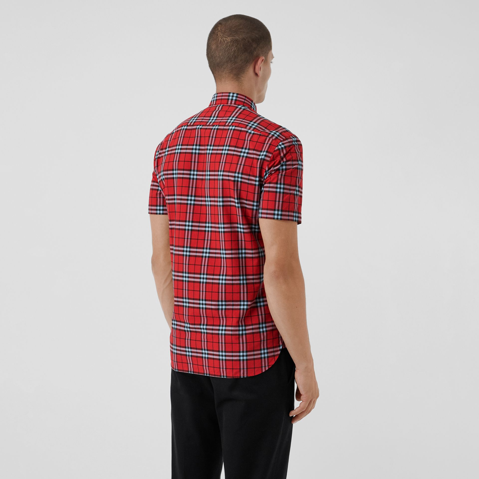 Short-sleeve Check Cotton Shirt in Bright Red | Burberry Australia - gallery image 2