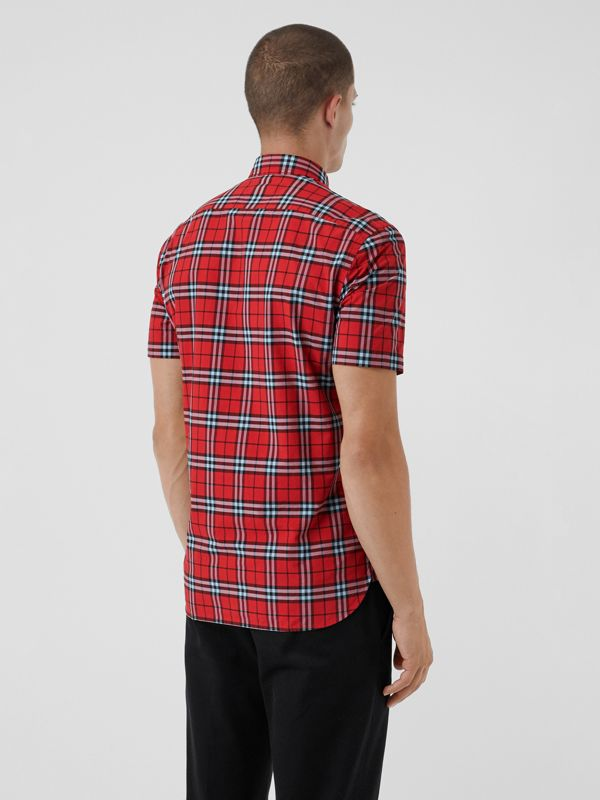 Short-sleeve Check Cotton Shirt in Bright Red | Burberry Australia - cell image 2