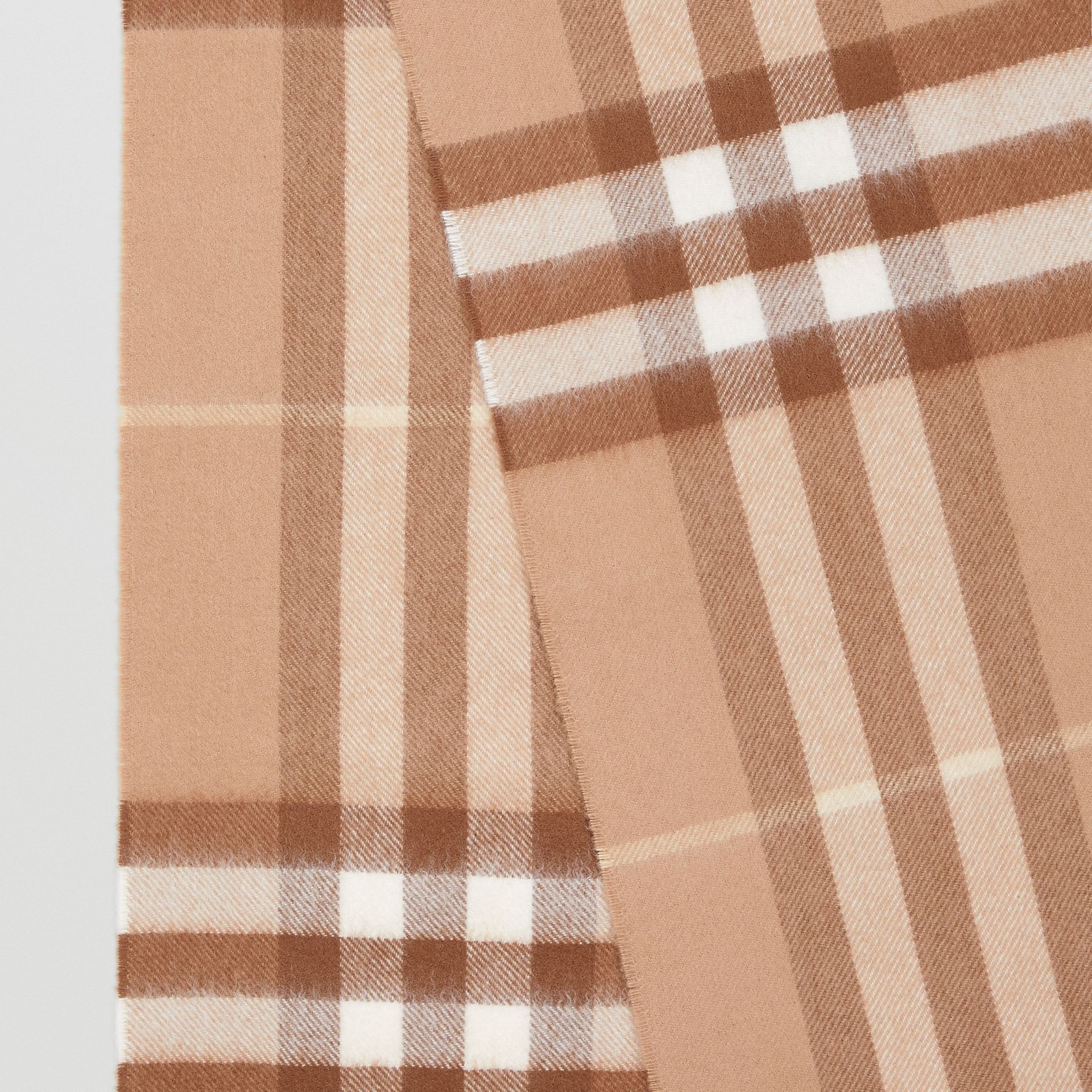 The Classic Check Cashmere Scarf in Mid Camel | Burberry - gallery image 9