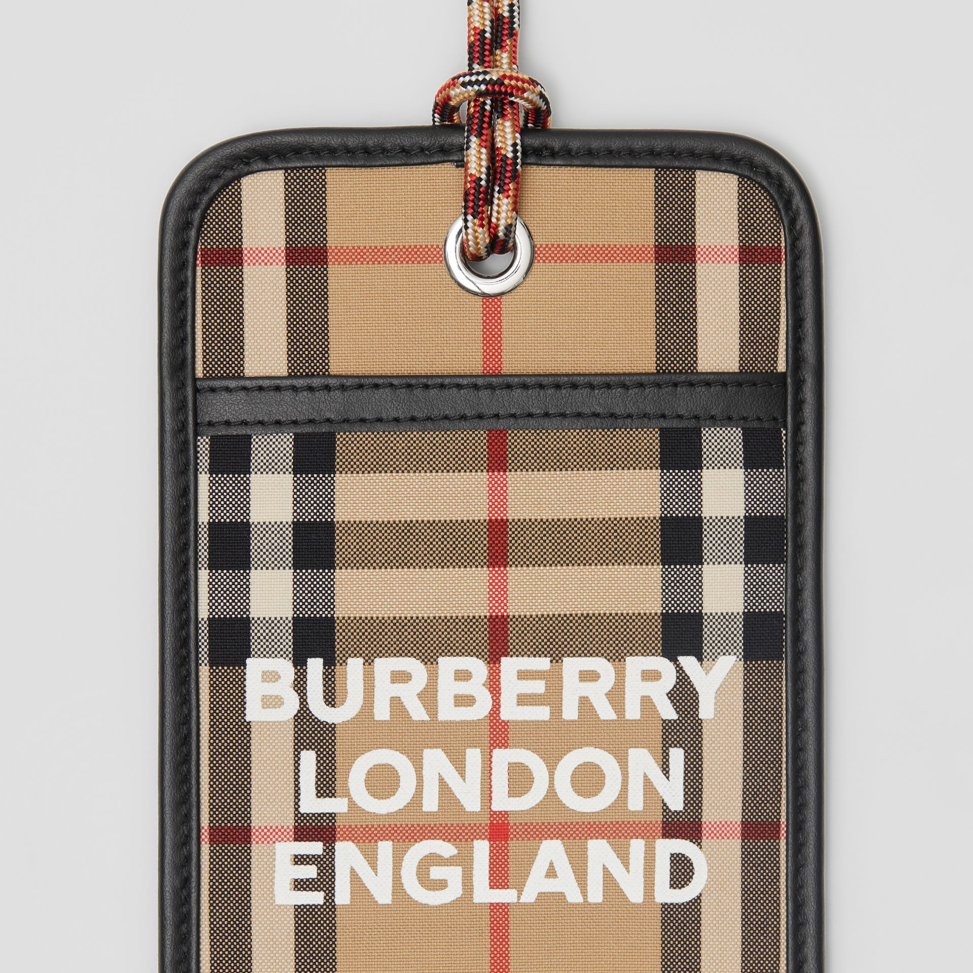 Logo Print Vintage Check Card Case Lanyard in Archive Beige - Men | Burberry - gallery image 1