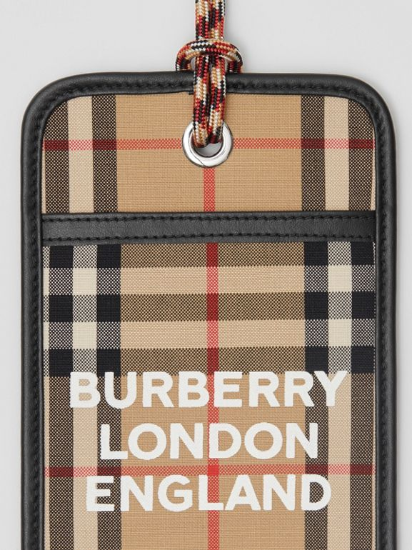 Logo Print Vintage Check Card Case Lanyard in Archive Beige - Men | Burberry - cell image 1