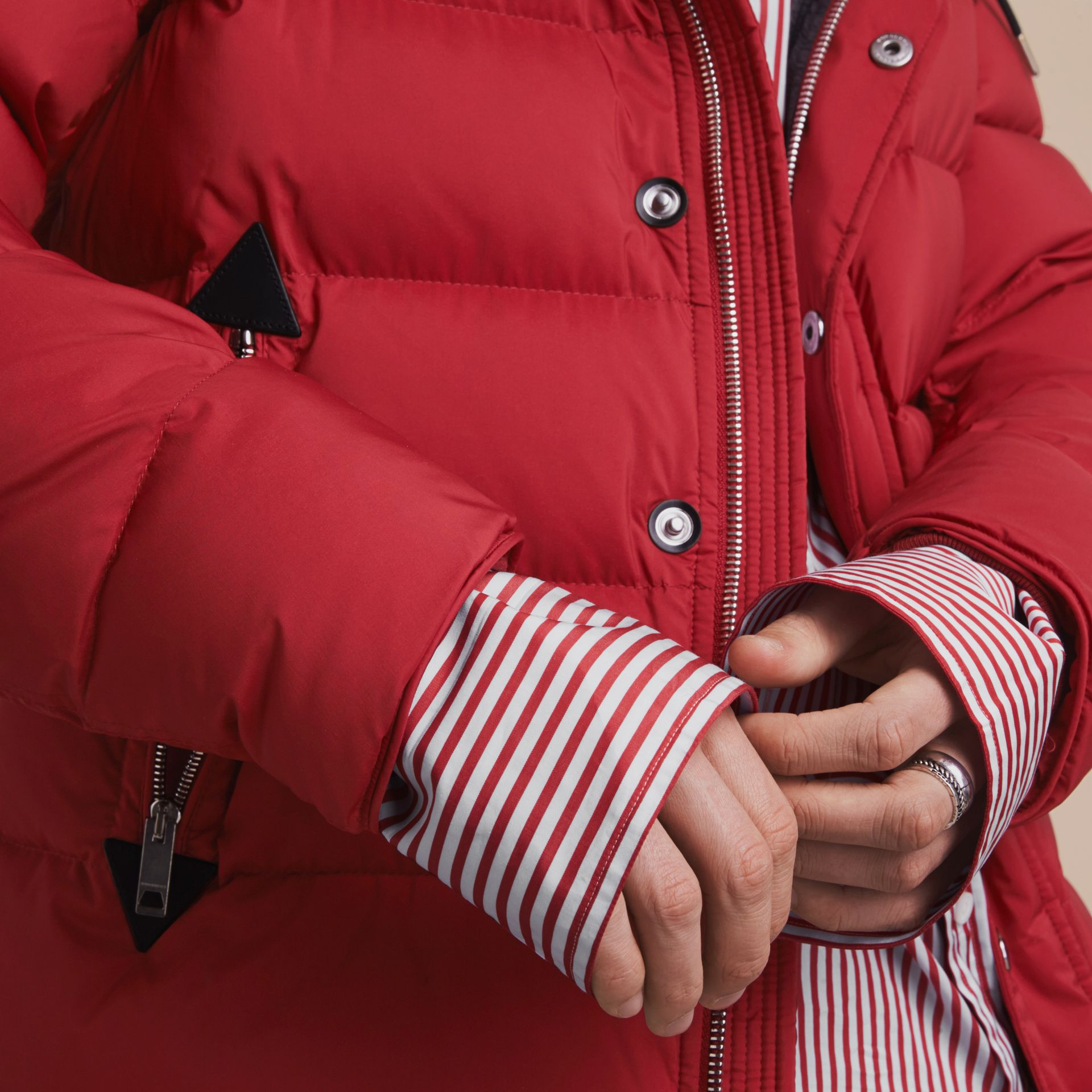 Down-filled Hooded Jacket with Detachable Sleeves in Parade Red - gallery image 5