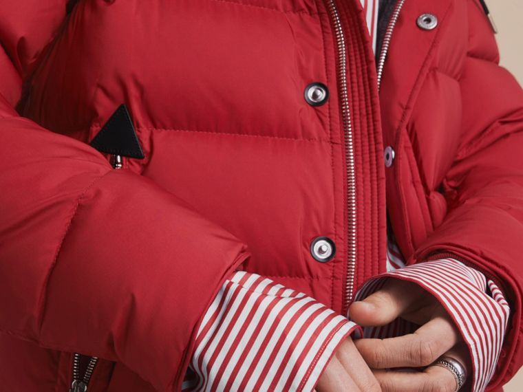 Down-filled Hooded Jacket with Detachable Sleeves in Parade Red - cell image 4