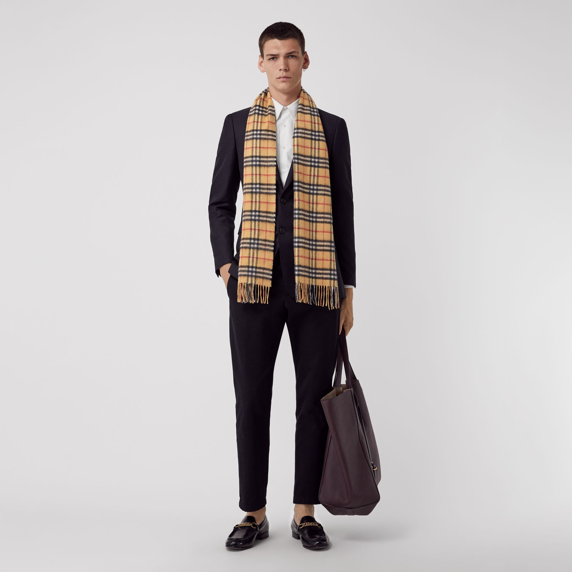 The Classic Vintage Check Cashmere Scarf in Antique Yellow | Burberry Australia - gallery image 3