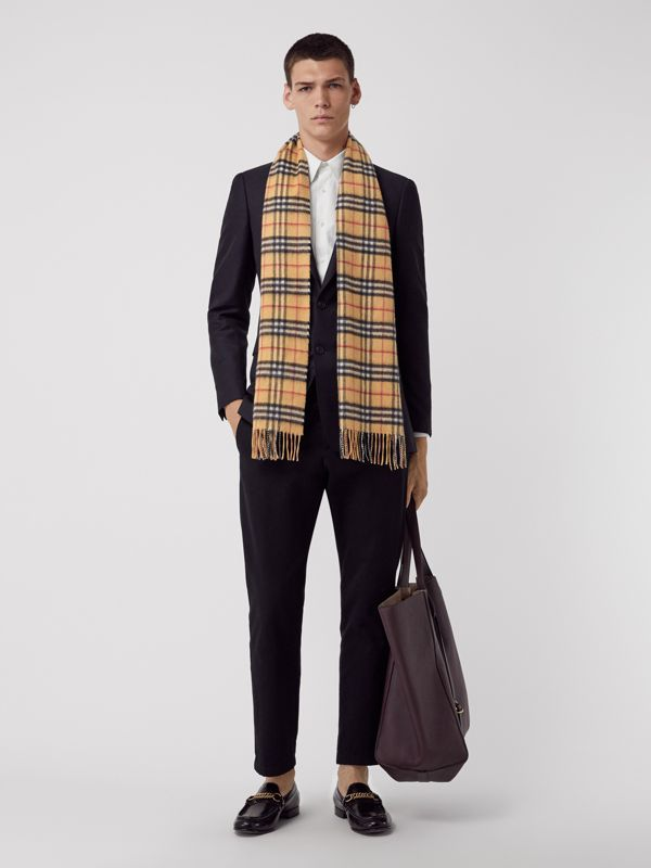 The Classic Vintage Check Cashmere Scarf in Antique Yellow | Burberry Australia - cell image 3