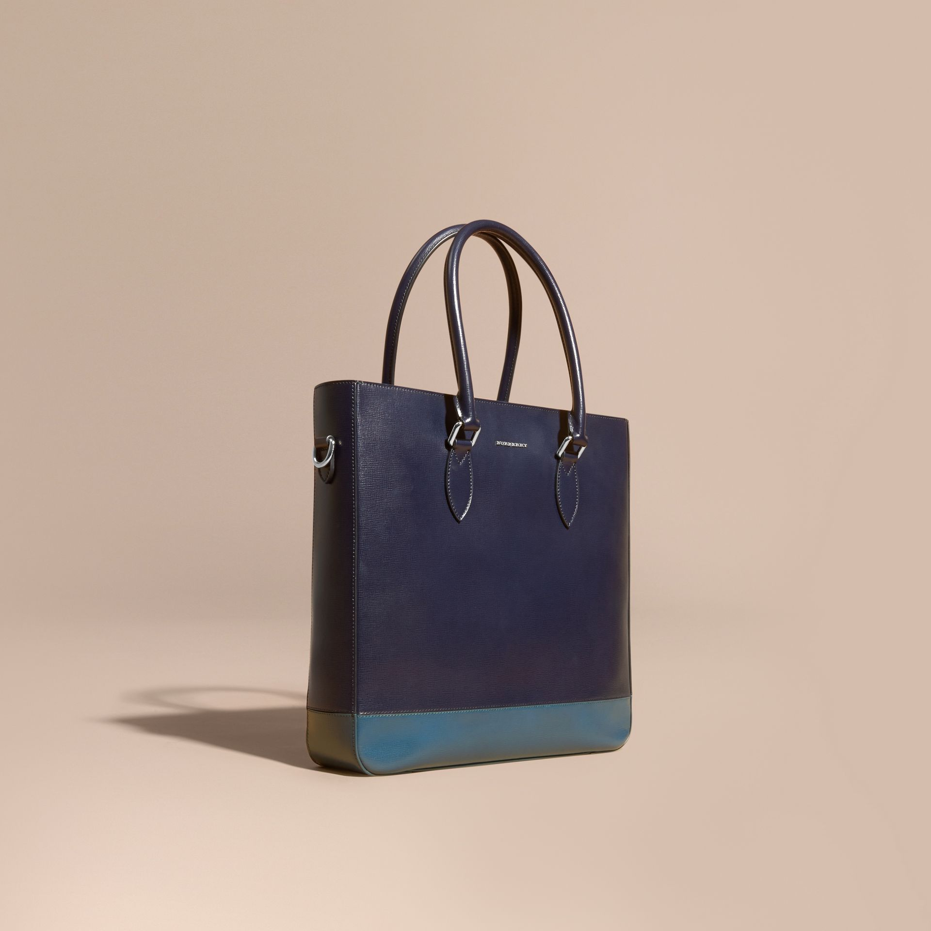 Dark navy/mineral blue Panelled London Leather Tote Bag Dark Navy/mineral Blue - gallery image 1