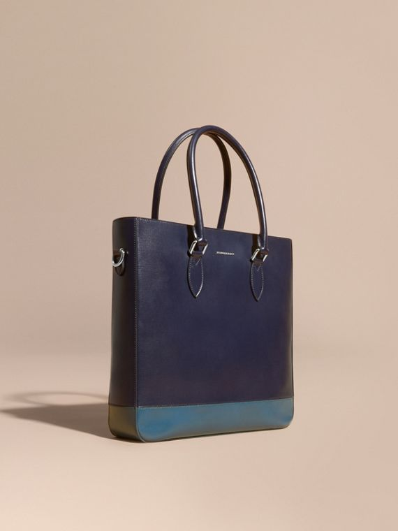 Panelled London Leather Tote Bag Dark Navy/mineral Blue
