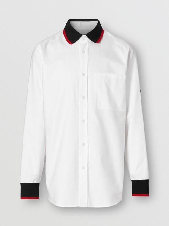 ニットディテール コットン オックスフォード オーバーサイズシャツ (ホワイト)