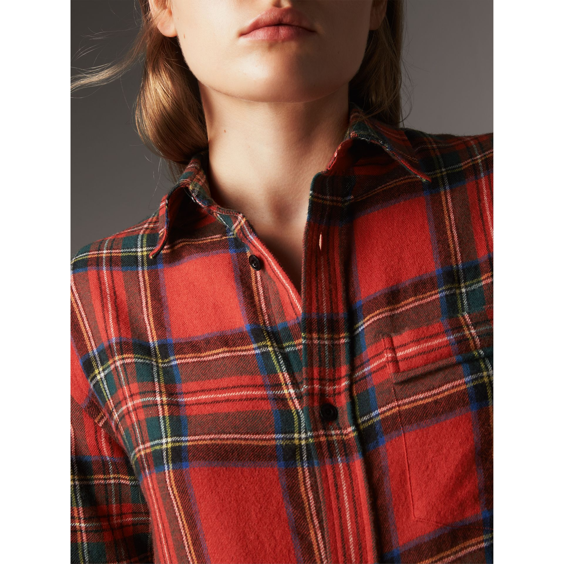 Tartan Wool Shirt in Bright Red - Women | Burberry - gallery image 2
