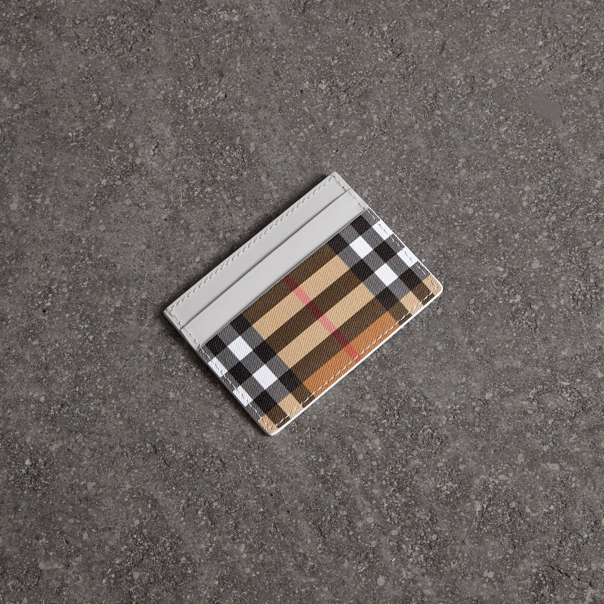 Vintage Check and Leather Card Case in Chalk White - Women | Burberry - gallery image 0