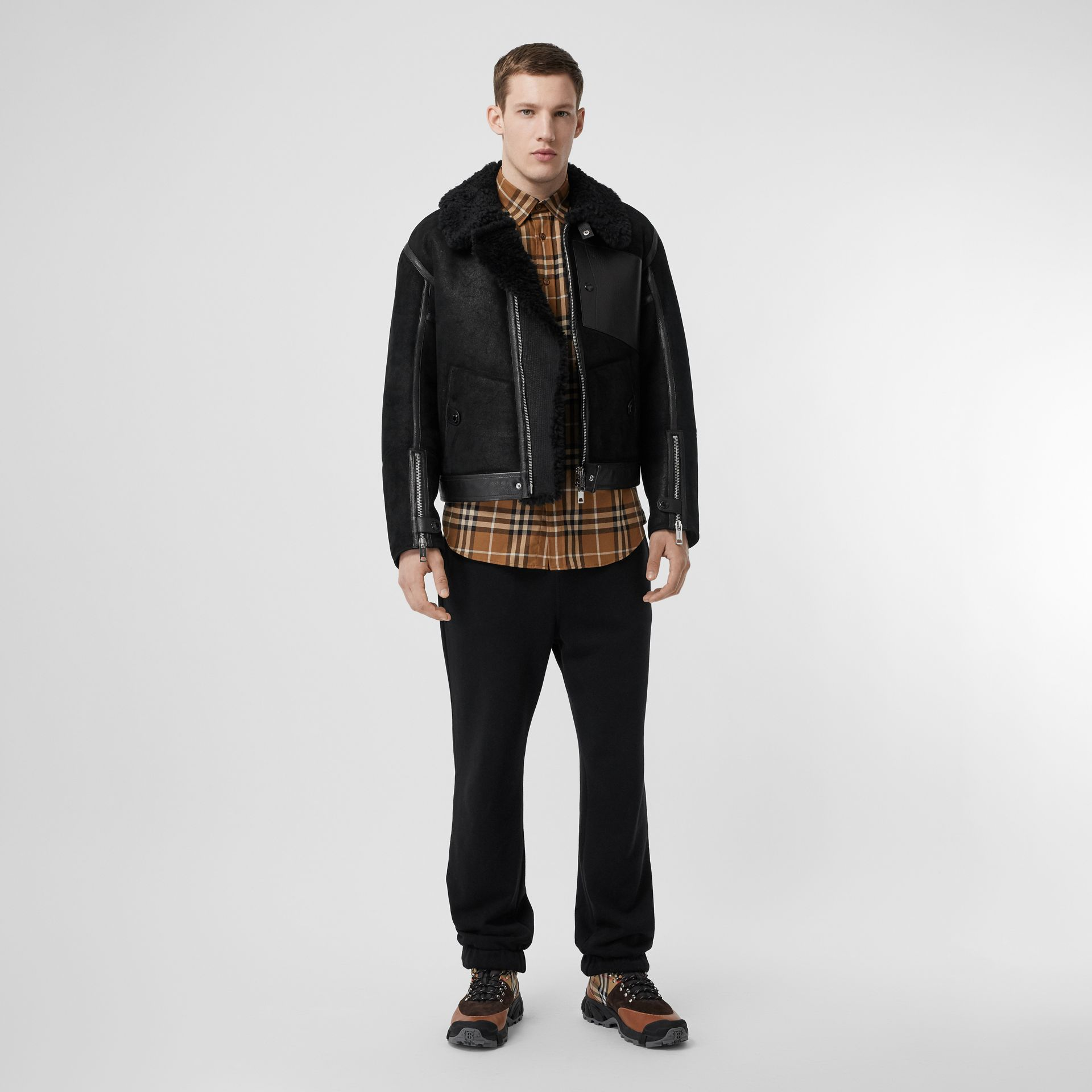 Shearling and Leather Jacket in Black - Men | Burberry Singapore - gallery image 0